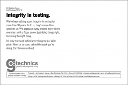 Integrity in testing.