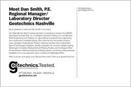 Meet Dan Smith, P.E. Regional Manager/Laboratory Director Geotechnics Nashville. Geotechnical Engineering