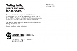 Testing limits, yours and ours, for 35 years. Geotechnical Engineering